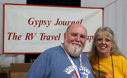 Nick and Terry Russell of the Gypsy Journal in the vendor booth.