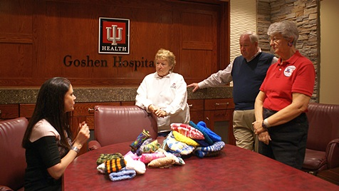 SKP craft donations at Goshen Hospital.  Bard (standing center) and Vera (standing right).