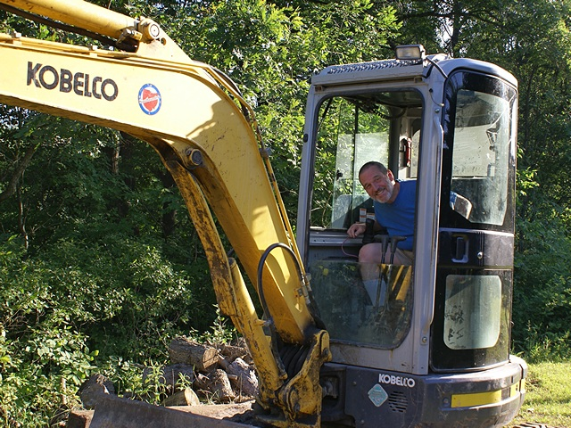 Bruce operating the excavator!