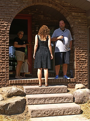 Linda, Shawna, and Chris on the front porch (new steps and sidewalk).
