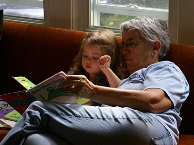 Madeline and Grandma Linda read a favorite story.