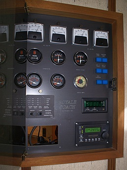 The house systems panel with Magnum ME-ARC remote installed at lower right.