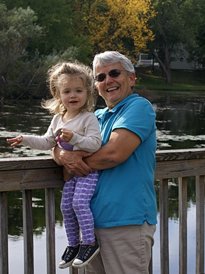 Madeline with Grandma Linda on the Brighton Mill Pond boardwalk.