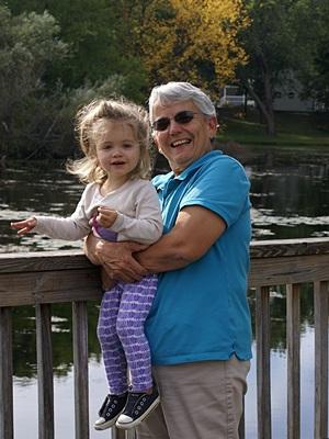 Madeline with Grandma Linda on the Brighton Mill Pond boardwalk.