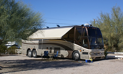 Our motorcoach set up in its winter home in Quartzsite, Arizona.