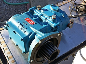 The new (re-built) Bendix Tu-Flo 700 air-compressor with the old spline and new port plugs.