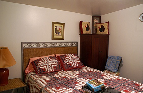 The apartment bedroom.