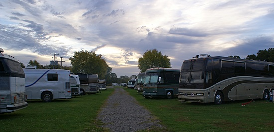 Our coach (front, right) at the FMCA GLCC Surplus & Salvage Rally, Elkhart CG (Elkhart, IN).