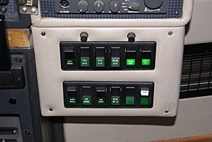 Cockpit house systems switch panel.
