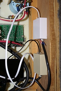Junction boxes for the ME-ARC remote (bottom) and the PI-EMS-50 (top)in the house systems panel.