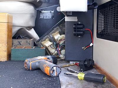 12VDC outlets on lower center cockpit console.