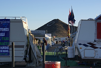 "A view of ""Q"" Mountain from the Desert Gardens Show area."