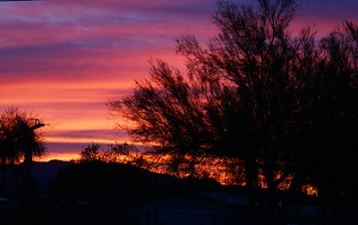 The sunsets in Quartzsite are amazing almost every night.  This shot was taken from our campsite in Q.
