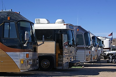 L-to-R: Gary Hatt's Eagle, his MC-9 Moose Creek Motorcabin, and some of the other Eagle bus conversions at the Eagles International rally.