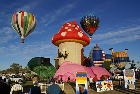 Fantasy balloons inflated to provide photo ops.