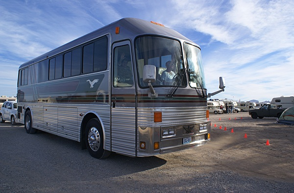 Eagle buses certainly make very nice motorhome conversions. This one was pulling out of the Eagles International rally at Quartzsite.
