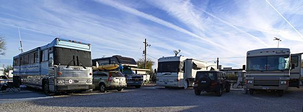 Camp Lieberville in Quartzsite, AZ (our coach is not shown).