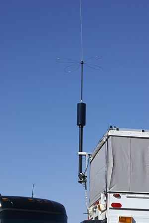 That is a Hi-Q HF antenna, just like the one we have but with a different capacitance hat.