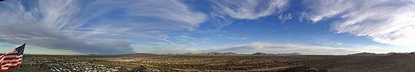 240 degree panorama from atop 'Q' Mountain, Quartzsite, AZ.