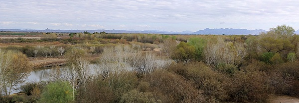 View looking north from the 1875 Yuma Terriorial Prison State Park, Yuma, AZ.