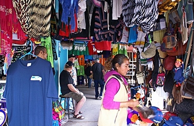 One of the many covered sidewalk market areas in Los Algodones, Mexico.