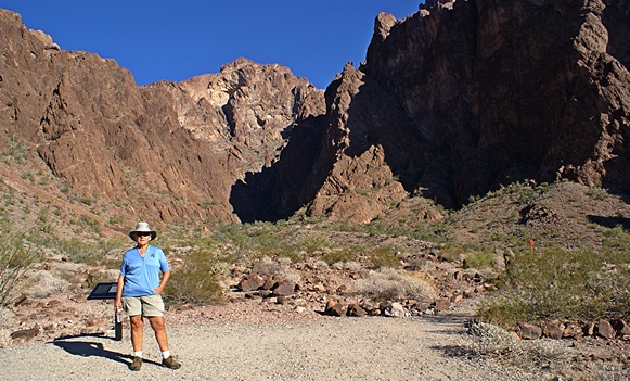 Linda in the parking lot at the mouth of Palm Canyon, KOFA NWR, AZ.