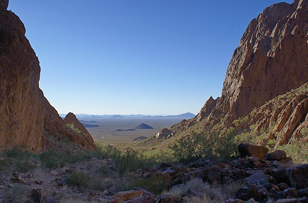 Looking WSW back out of Palm Canyon at the La Paz Valley.  The trail climbs it goes deeper into the canyon.  KOFA NWR, AZ.