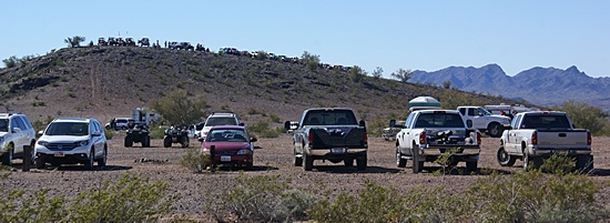 Vehicles positioned east of Bouse, AZ to watch the Parker 435 off-road race.
