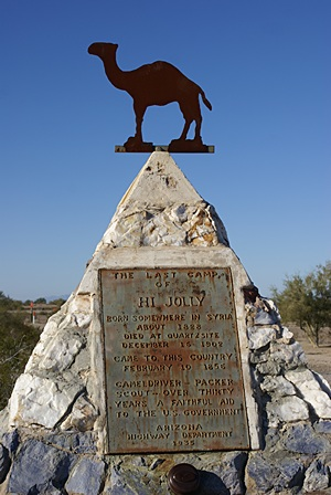 Hi Jolly's (Hadji Ali's) gravesite in the Quartzsite Cemetary; allegedly the most visited place in Q.