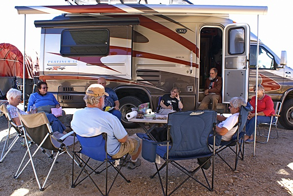 FMCA Freethinkers gathered at Steve & Liz Willey's RV.  Peg Leg Monument, Borrego Springs, CA.