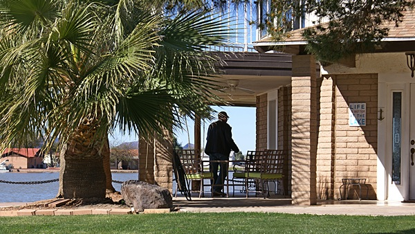 RVillage founder/CEO Curtis Coleman at work on his patio office.