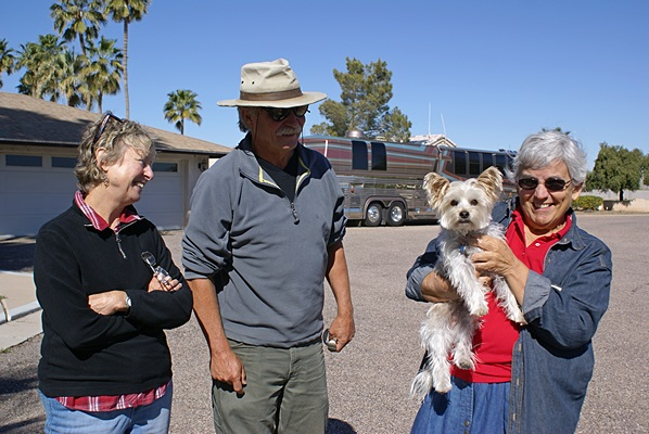 Marianne Edwards and Randy Sturrock with Linda (holding Augie).