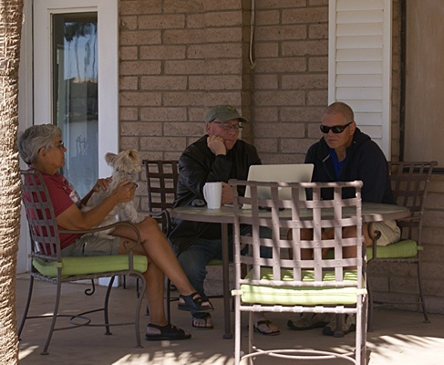 Linda, Curtis, and Dave McKenna discussing details of RVillage.