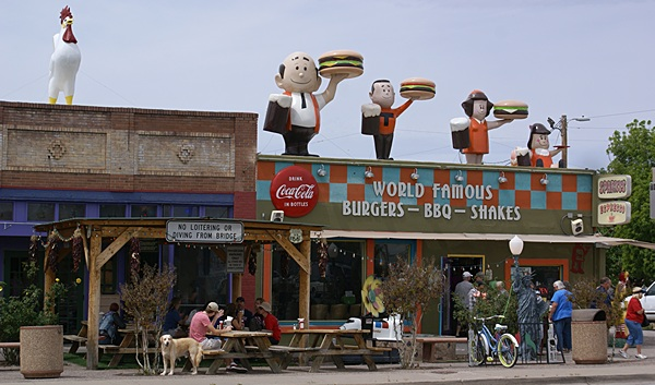 Sparky's restaurant in Hatch, New Mexico.  Funky facade and great food.