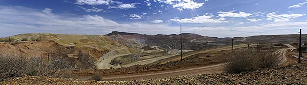 A panoramic photo of the open pit Chino Copper Mine near Silver City, New Mexico.