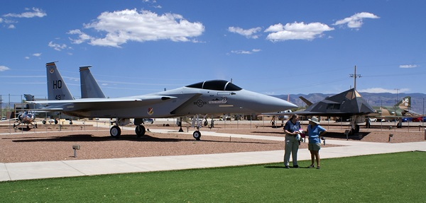 Bell and Linda in front of an F-15 in the static display area at Holloman AFB.