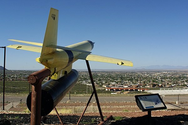 A view towards Alamogordo from the outside display area at the New Mexico Space History Museum.