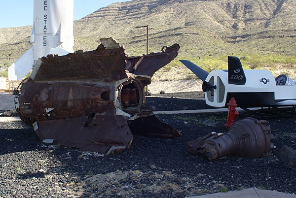 The remains of a WWII German V2 rocket that was test-fired at White Sands Proving Grounds just after the war ended.