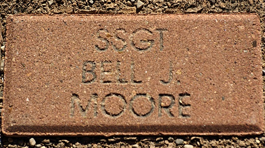 A close up view of Bell's Gulf War commemorative brick.