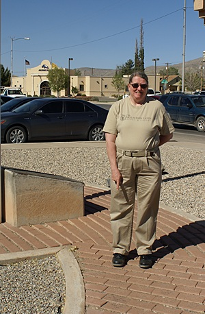 Our friend and Alamogordo tour guide Bell Moore, points to her Gulf War service brick at the Alamogordo, NM Chamber of Commerce.