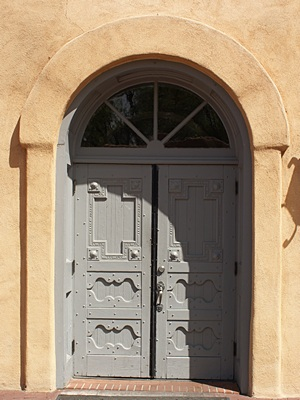The door of the early 18th century mission church in Old Town Albuquerque, NM.