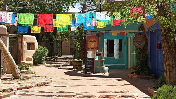 One of the many little seculded plazas in Old Town Albuquerque, NM.