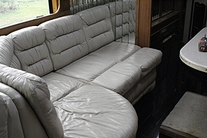 The dinette in our Prevost H3-40 before removal.