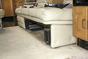 Driver side sleeper sofa in our H3-40 with motorized drawer removed.