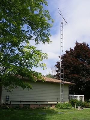 The 40 foot tower on the east end of the house with the old OTA TV antenna on top.