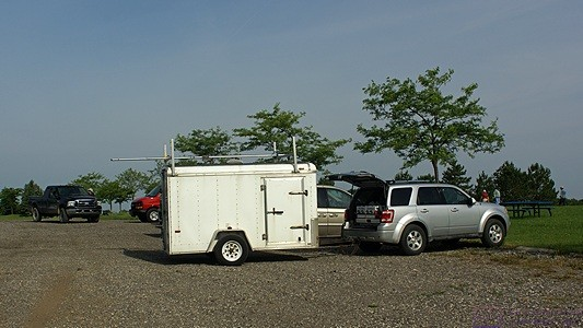 SLAARC's Field Day setup begins in earnest when Steve's equipment trailer arrives.