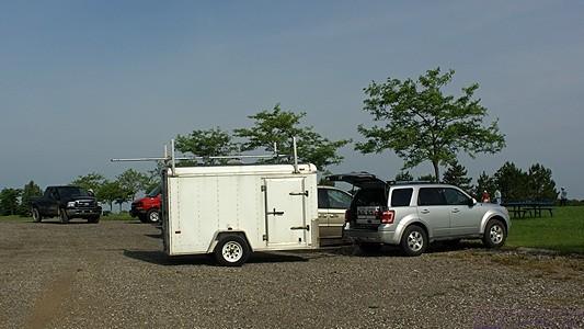 SLAARC's Field Day setup begins in earnest when Steve's equipment trailer arrives.