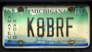 My Amateur Radio vanity license plate.  There were a LOT of these in the parking lot at the SLAARC Field Day site.