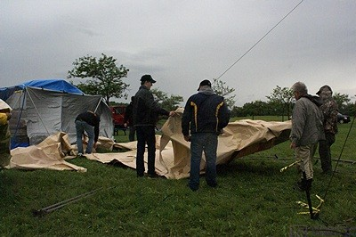 The winds really howled out of the north driving the rain before them.  This shelter (from Costco) did not survive along with another tent and a screen room.