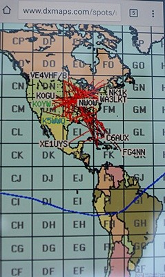 A path map from Eric's (K8ERS) cell phone of the early morning 6m band opening.